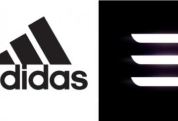 Логотип Adidas (слева) и предыдущий логотип Tesla Model 3 (справа)