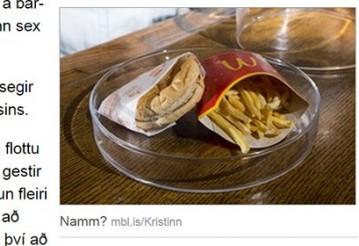 Исландец показал шестилетний бургер из McDonald's. Скриншот: mbl.is
