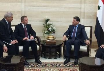 Встреча Макея с премьер-министром Сирии Ваилем аль-Халяки. Фото: mfa.gov.by