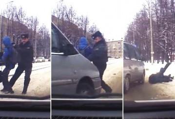 "Видеофакт. В Витебске на ""зебре"" милиционер выхватил ребенка из-под Peugeot: сбили его самого"