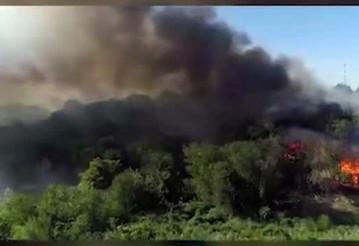 Пожар в Ростове-на-Дону сняли с воздуха